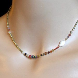Dainty Gemstone Choker, Delicate Beaded Necklace